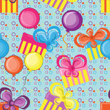 Gifts and balloons seamless background. Abstract pattern with gifts and balloons Stock Photos
