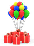 Gifts and balloons. On a white background. 3D rendering Stock Photos