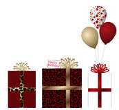 3 Gifts and Balloons Stock Photos