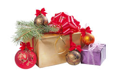 Gifts and balls with fur-trees Stock Photo
