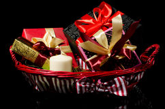 Gifts basket Stock Photography