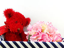 Gifts and beautiful bouquet of flowers with red teddy bear for mother day birthday Royalty Free Stock Photography