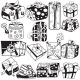 Gifts black collection Royalty Free Stock Images