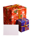 Gifts with blank sheet of paper Royalty Free Stock Images