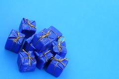 Gifts on blue royalty free stock photos