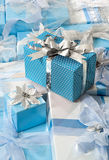 Gifts in Blue Stock Photography