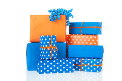 Gifts in blue and orange Stock Image