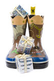 gifts in boots stock image