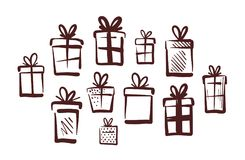 Gifts with bow, set of icons. Doodle vector illustration. Isolated on white background Royalty Free Stock Photos