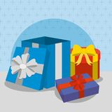 Gifts with bows design. Gifts with bows of surprise and present theme Vector illustration Royalty Free Stock Photos