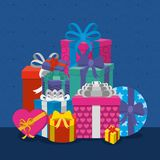 Gifts with bows design. Gifts with bows of surprise and present theme Vector illustration Stock Images