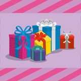 Gifts with bows design. Gifts with bows of surprise and present theme Vector illustration Royalty Free Stock Images