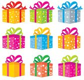 Gifts box. Set of gift boxes in different colors and different patterns Stock Photos