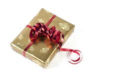 Gifts box. Gift boxes with yellow and red ribbons stock photography