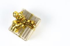 Gifts box. Gift boxes with yellow and red ribbons stock photo