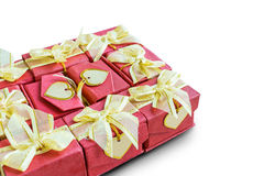 Gifts box with heart card on white background. Colorful gifts box with heart card on white background Royalty Free Stock Image