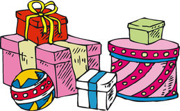 Gifts. Box with gifts. Isolated on white background Stock Photography