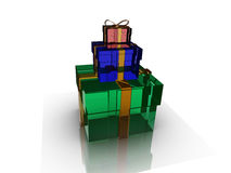 Gifts box over background 3d illustration Royalty Free Stock Photos