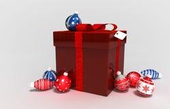 Gifts box and xmas bulb Stock Image