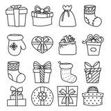 Gifts boxes bags socks lineart Stock Image