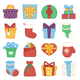 Gifts boxes bags socks lineart cartoon doodle design vector illustration Stock Image