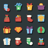 Gifts boxes bags socks lineart cartoon doodle design vector illustration Royalty Free Stock Photo