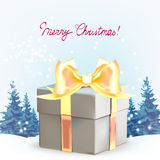 Gifts boxes with bows and ribbons, Christmas trees, dream, winte Stock Photos