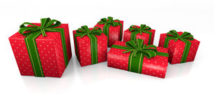 Gifts boxes. Four gift boxes over white background 3d illustration Stock Images