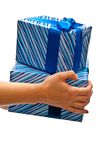 Gifts boxes on hands Stock Photos