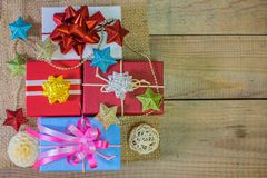 Gifts boxes and holiday decor royalty free stock photos