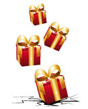 Gifts boxes impact. Gifts shock impact. Four red presents with large golden bows Stock Image