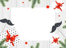 Gifts boxes with red bow, mustaches and fir branches on white wooden background. Retro stile. Top view. Vector illustrtion Stock Photos