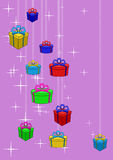 Gifts boxes and stars Stock Image