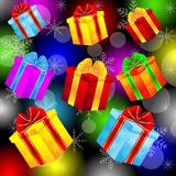 Gifts on a bright christmas background Royalty Free Stock Images