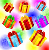 Gifts on a bright christmas background Stock Images