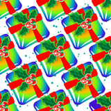 Gifts bright seamless pattern Stock Photos