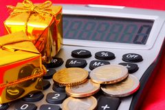 Gifts and calculator Royalty Free Stock Images