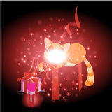 Gifts and cat with Christmas background and greeting card vector Royalty Free Stock Photo