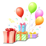 Gifts for celebration. Colorful gift and balloon Stock Photography
