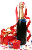 Gifts and champagne Royalty Free Stock Photos