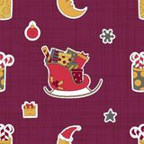 Gifts for children at Christmas from Santa Claus. Pink seamless pattern. Stock Images