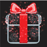 Gifts with Christmas background and greeting card vector Royalty Free Stock Photo