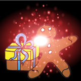 Gifts with Christmas background and greeting card vector Royalty Free Stock Photos