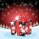 Gifts with Christmas background and greeting card vector Stock Photography