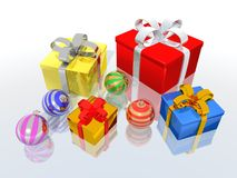 Gifts and christmas balls Royalty Free Stock Image