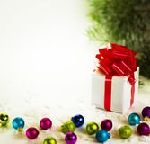 Gifts  with Christmas balls Stock Images