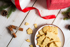 Gifts and Christmas cookies stock photography