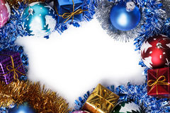 Gifts and christmas decoration frame Stock Images