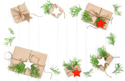 Gifts christmas decoration paper tags Holidays background. Gifts with christmas decoration and paper tags. Holidays background Royalty Free Stock Photo