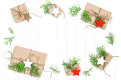 Gifts christmas decoration paper tags Holidays background. Gifts with christmas decoration and paper tags. Holidays background Royalty Free Stock Photos